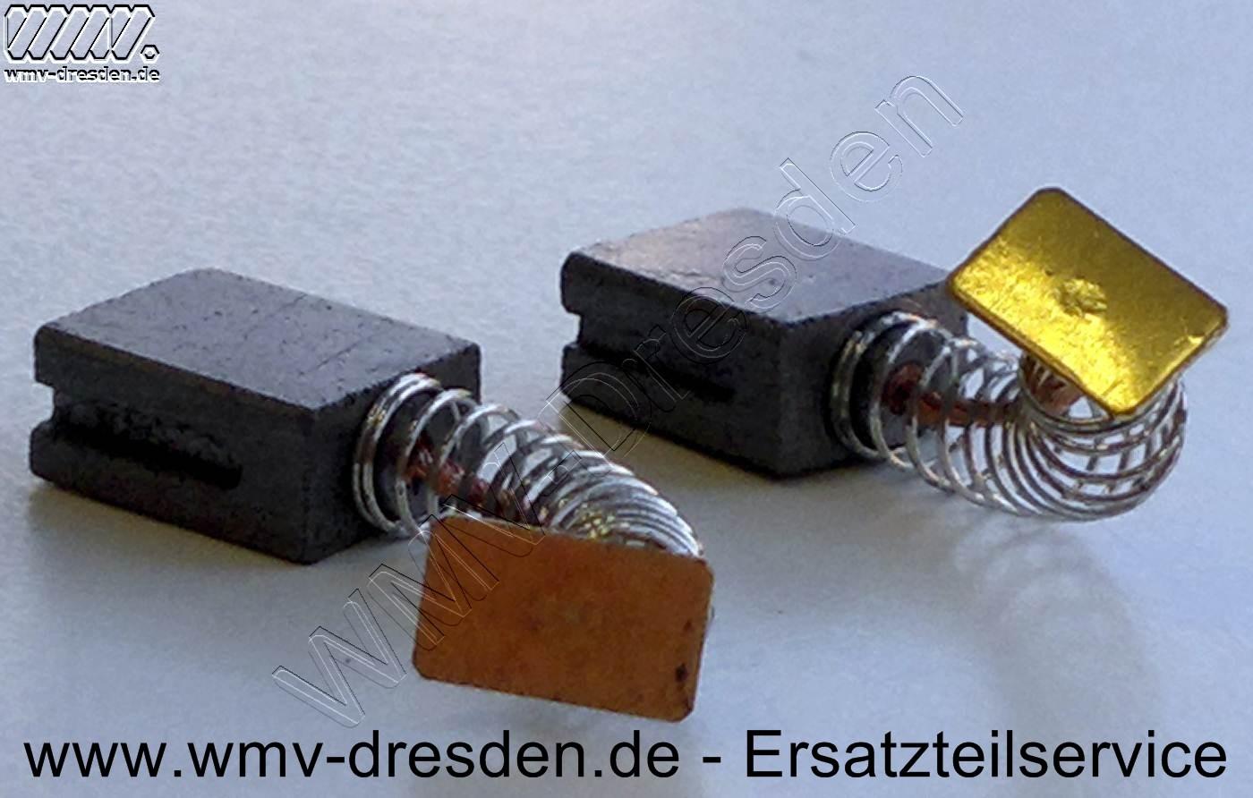 Kohlebuerstenpaar (6,5 x 10,9 x 13 mm, mit Litze, Feder und Schlussplatte)
