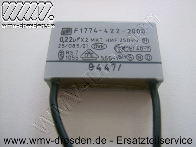 Kondensator X2  0,22µF flach, 2 Anschlüsse - wenn rund mit 5 Anschlüssen > 340212636
