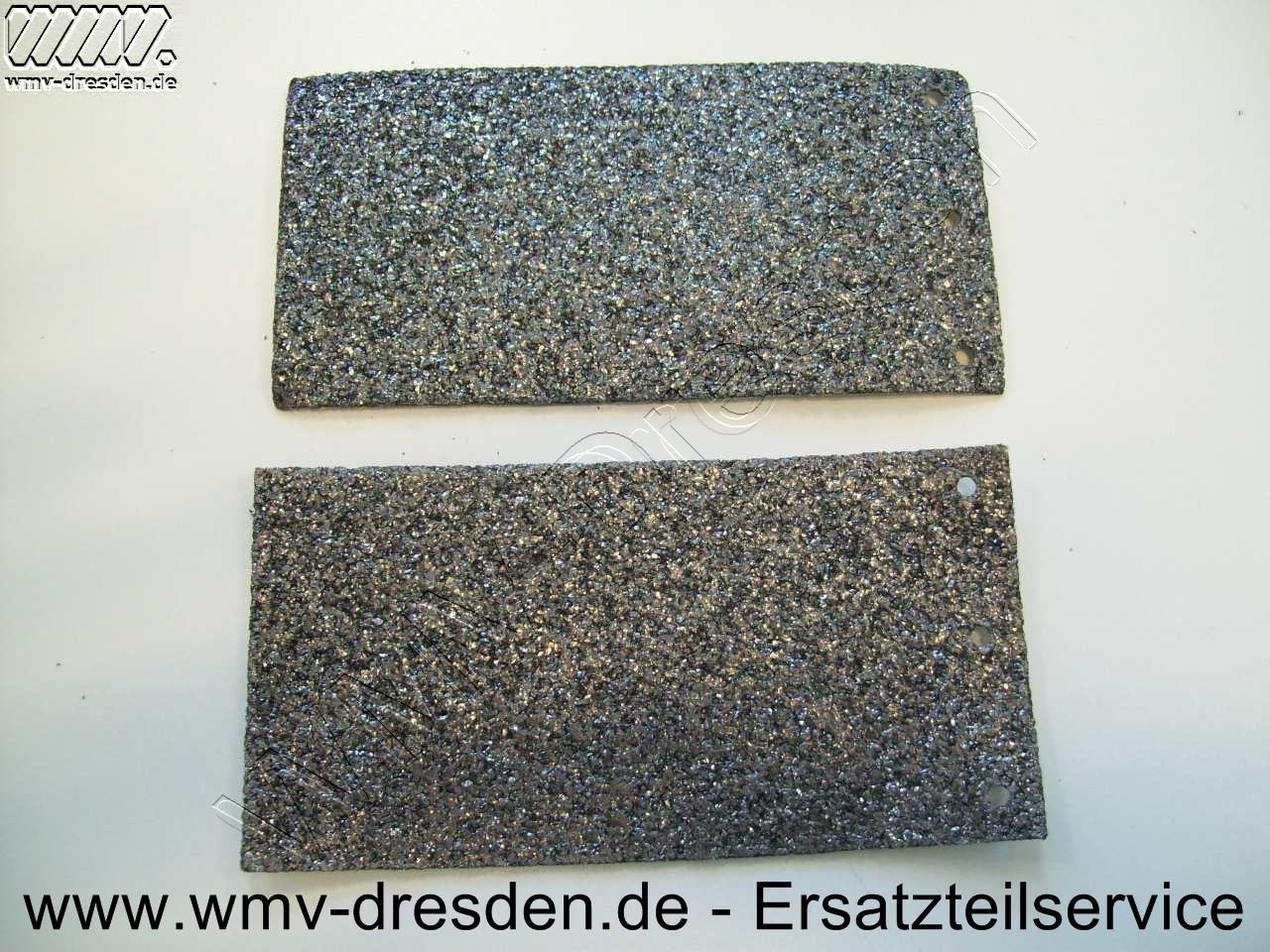 Schleifunterlage >>> 2er Pack 150 mm x 77 mm, an einer Stirnseite 3 Befestigungslöcher <<<