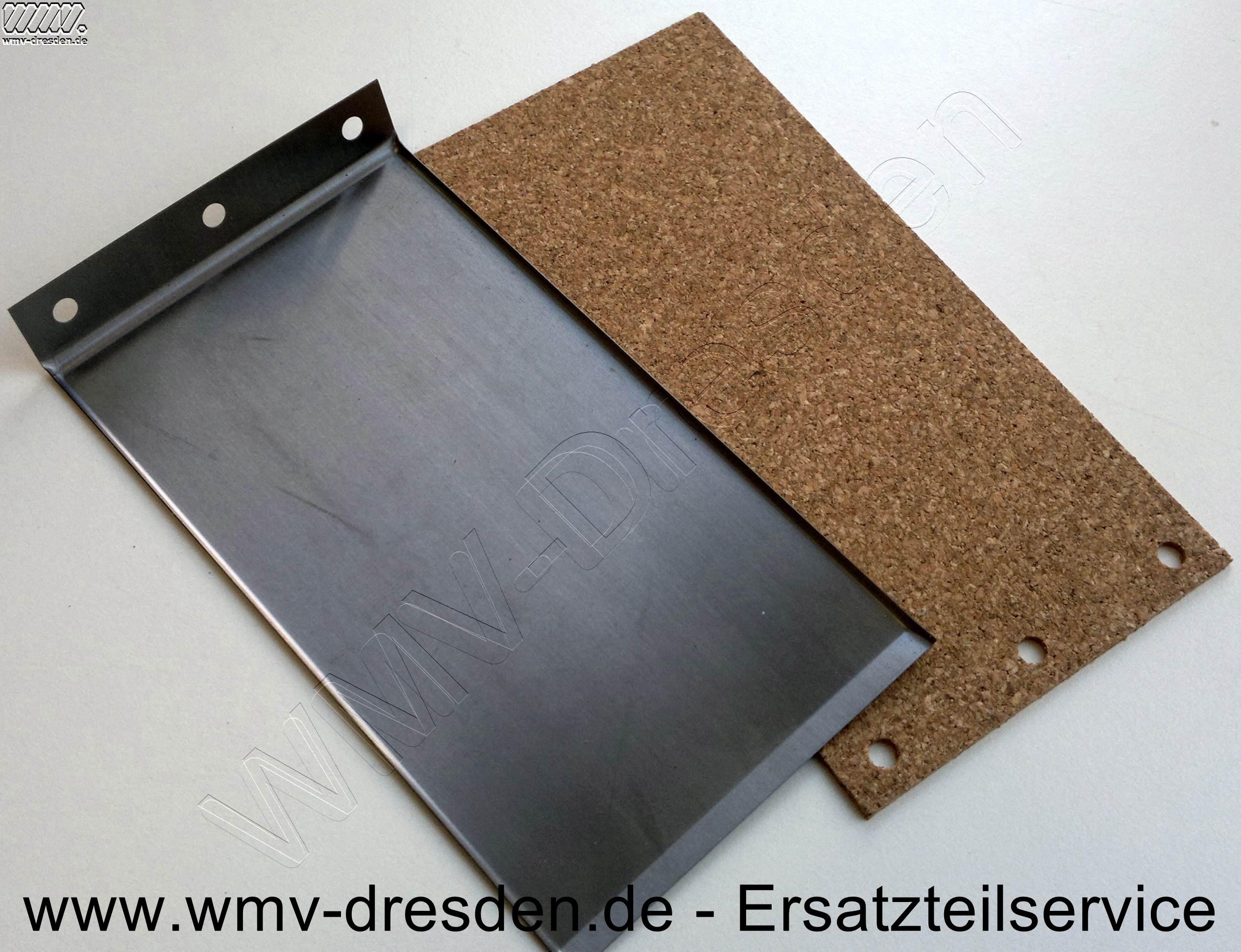 Schleifunterlage-Set ( 1 Metallplatte und 1 Korkplatte )  >>150 mm x 77 mm, an einer Stirnseite 3 Befestigungslöcher <<<