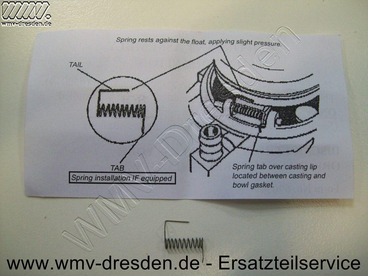 Schwimmer und Feder >>> Befestigungsstift ist nicht enthalten <<< - Federmontage siehe Foto + Infos
