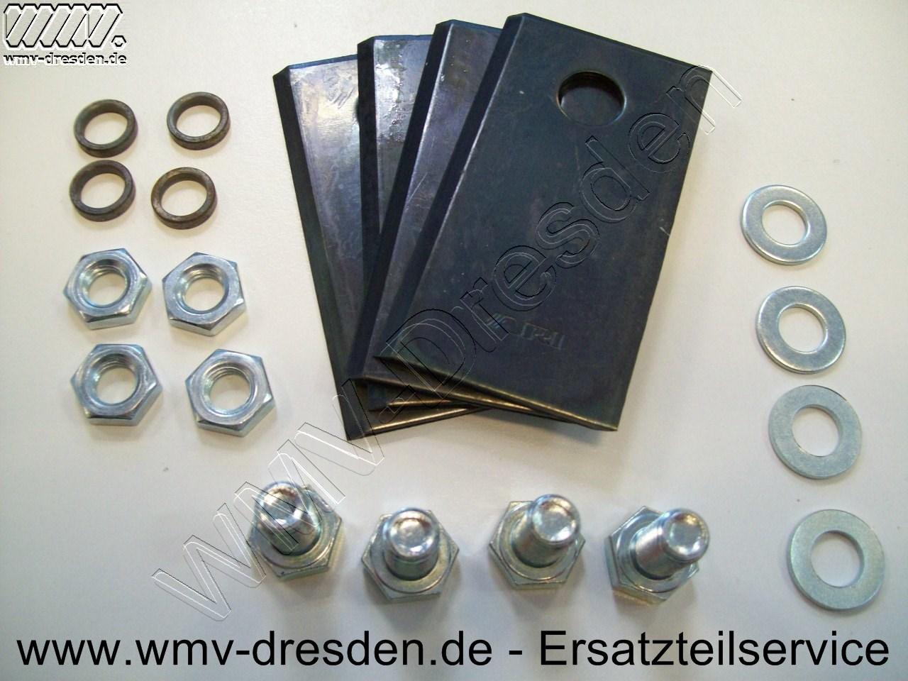 Messersatz  4 Klingen , 4  Sechskantschrauben 11517, Scheiben 11518, Muttern 11519, Zentrierhülsen 11460