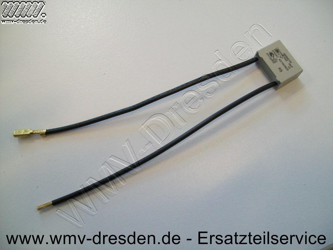 KONDENSATOR, 0,1 mF, eckige Form, 2 Anschlusskabel -
