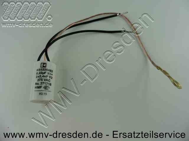 Kondensator rund, Ø 19,8 mm, Länge 35 mm, mit 2 Anschlusskabeln schwarz und 1 Massekabel für Polschuh