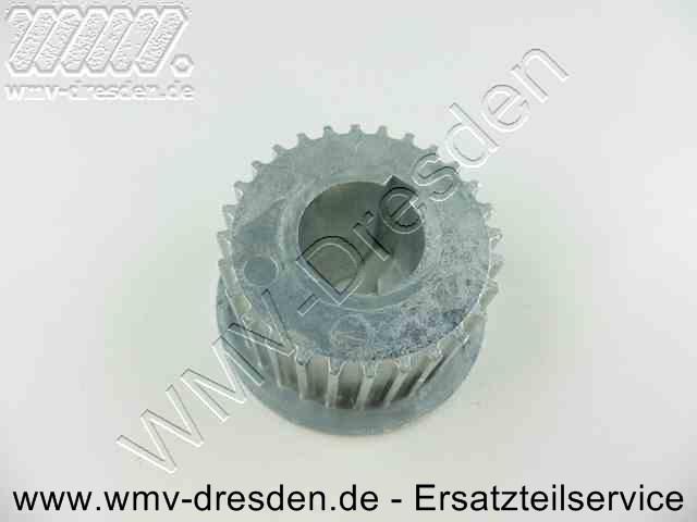 Zahnriemenscheibe für Motorwelle, ALU, Außendurchmesser über Zähne 43 mm, Außendurchmesser Randscheibe 52 mm, Bohrung 18 mm