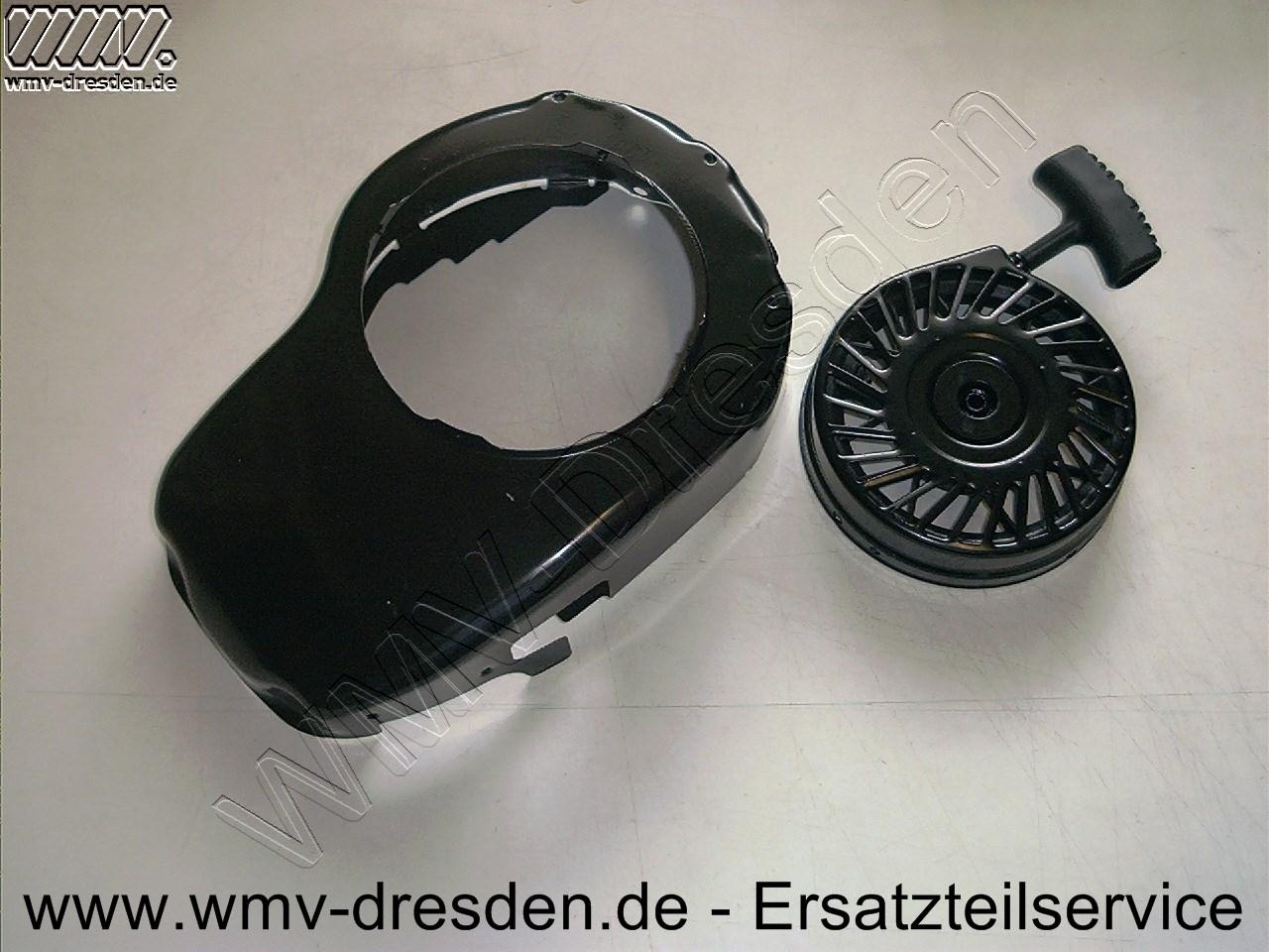 Starter vormontiert auf Lüftergehäuse