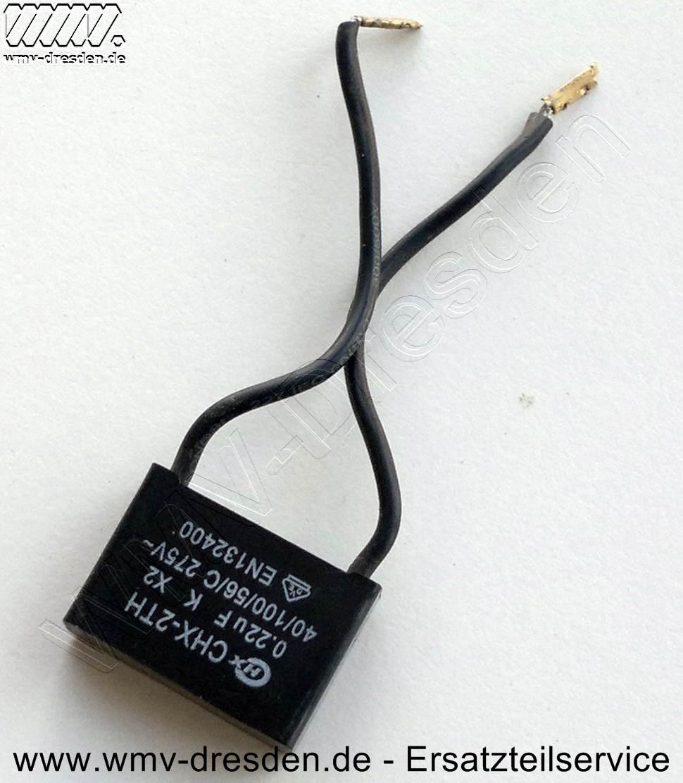 Kondensator für MPMB und TPMB , 25x17x8 mm, Kabellänge ca. 7 cm, flach, 2 Anschlüsse, 275V, 0,33µF